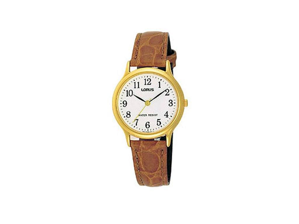 Lorus Ladies White Face Tan Leather Band