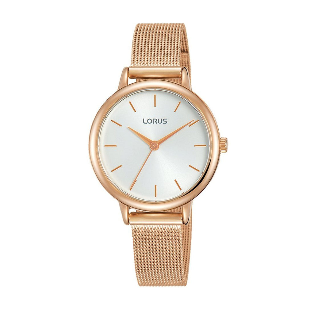 Lorus Ladies' Quartz White & Rose Gold Mesh Watch Model RG246NX-6