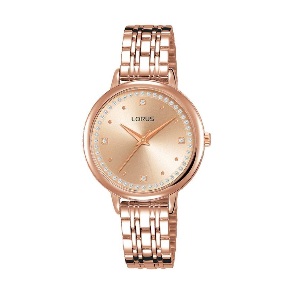 Lorus Ladies Rose Gold Stone Set Watch RG298PX-9