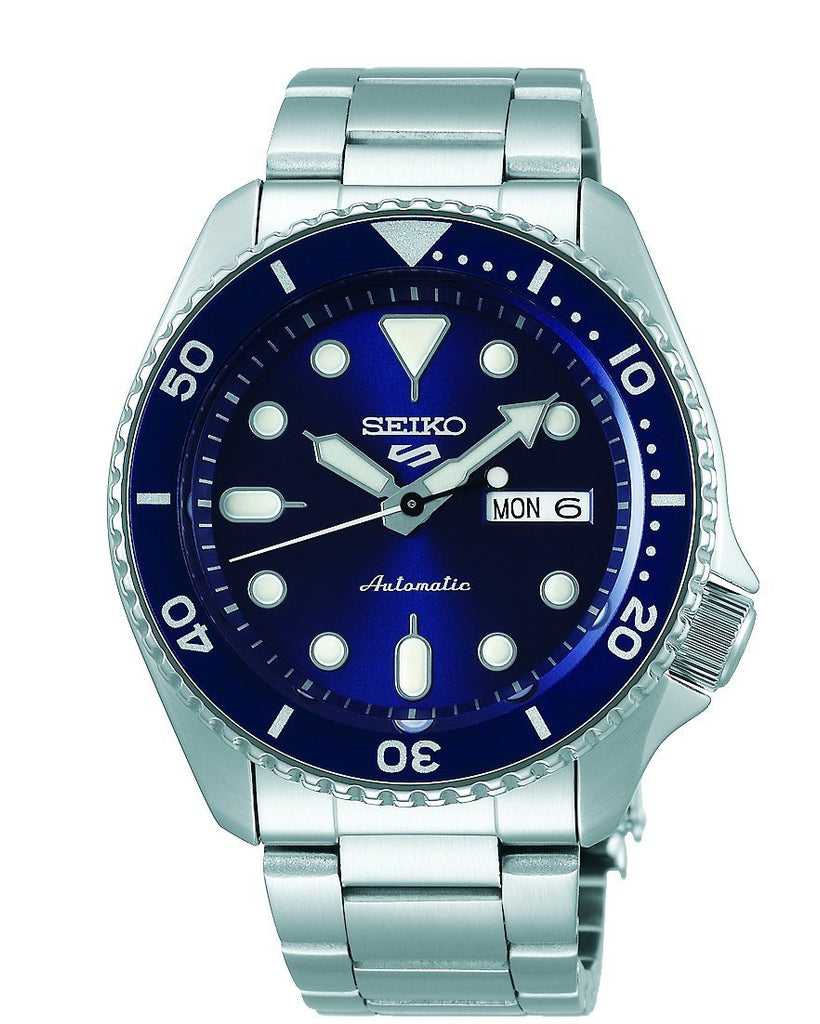 Seiko 5 Sports Mens Automatic Blue Bezel & Silver Watch SRPD51K