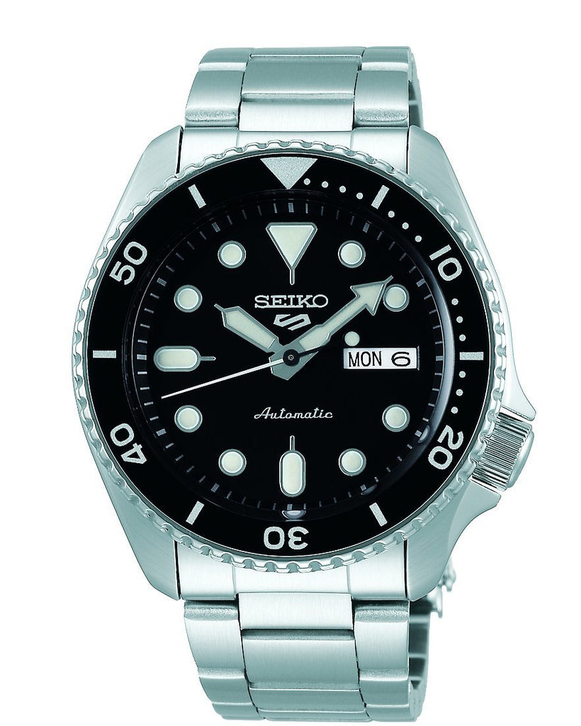 Seiko 5 Sports Mens Black & Silver Watch SRPD55K Watches Seiko