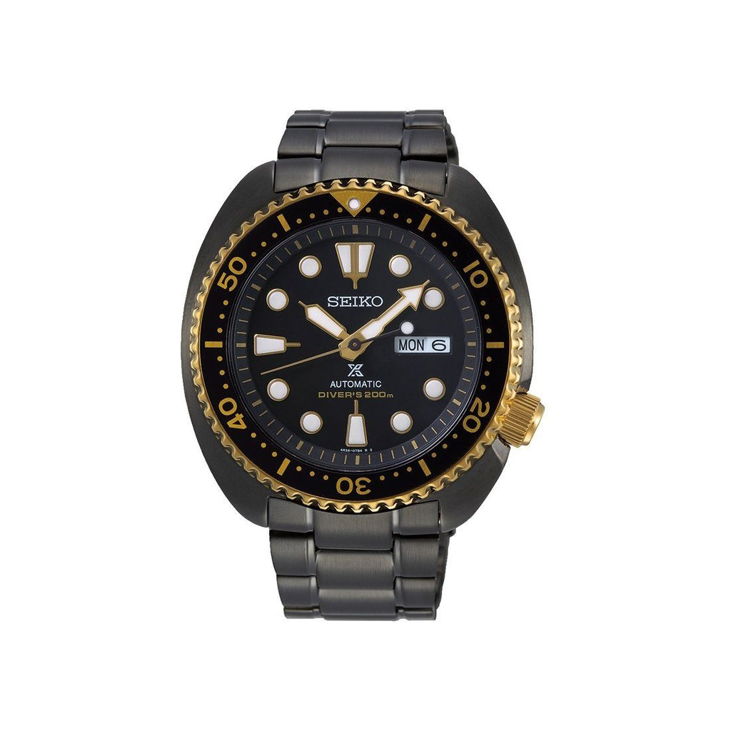 Seiko Prospex Gents Black-Gold Automatics Divers Watch SRPD50K