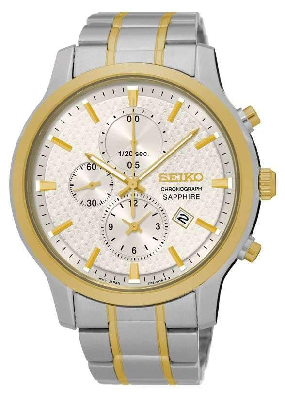 Seiko Gents Chrono Two Tone Watch Model SNDG68P Watches Seiko
