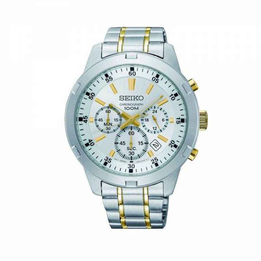 Seiko Men's Two Tone Chronograph Stainless Steel Watch Watches Seiko