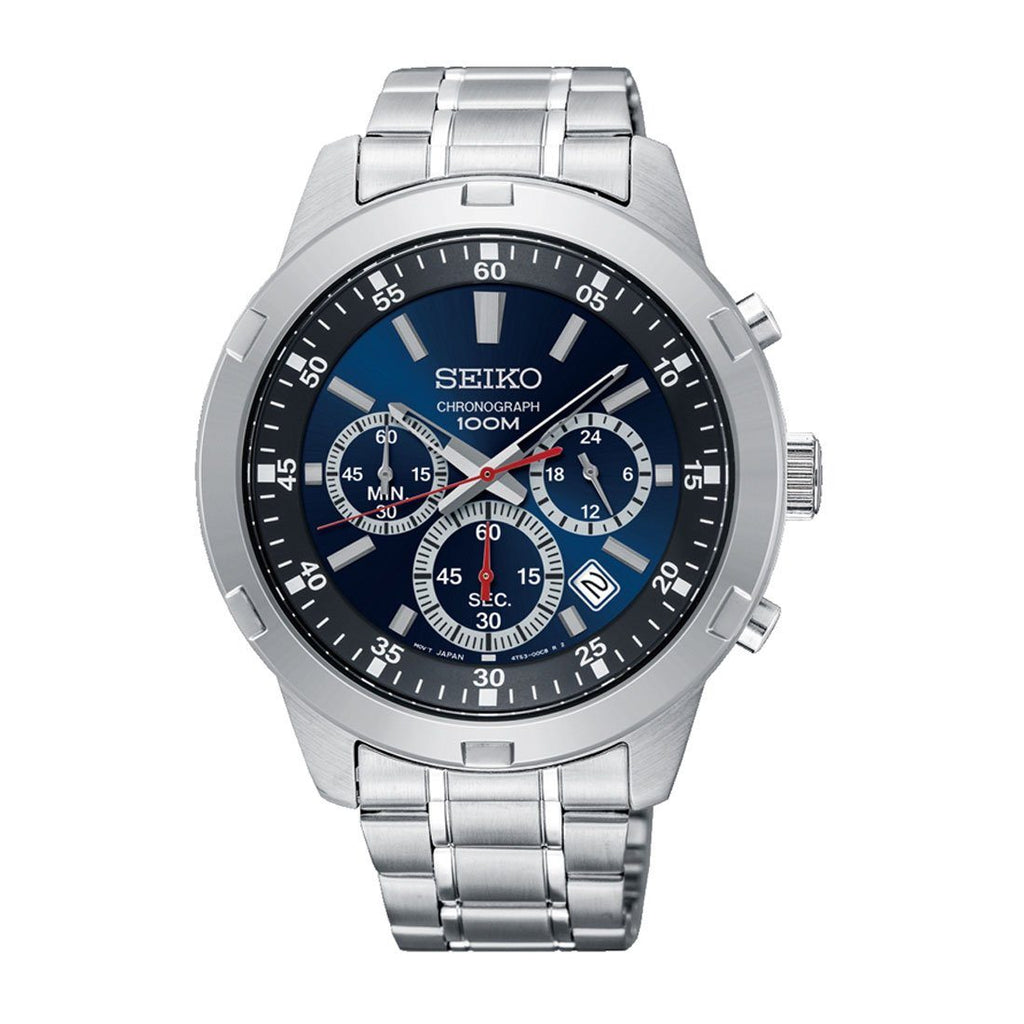 Seiko Men's Silver Stainless Steel Blue Face Chronograph Watch SKS603P Watches Seiko