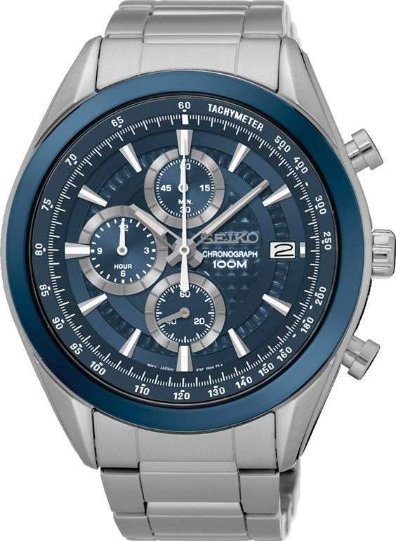 Seiko Quartz Chrono Blue Watch SSB177P