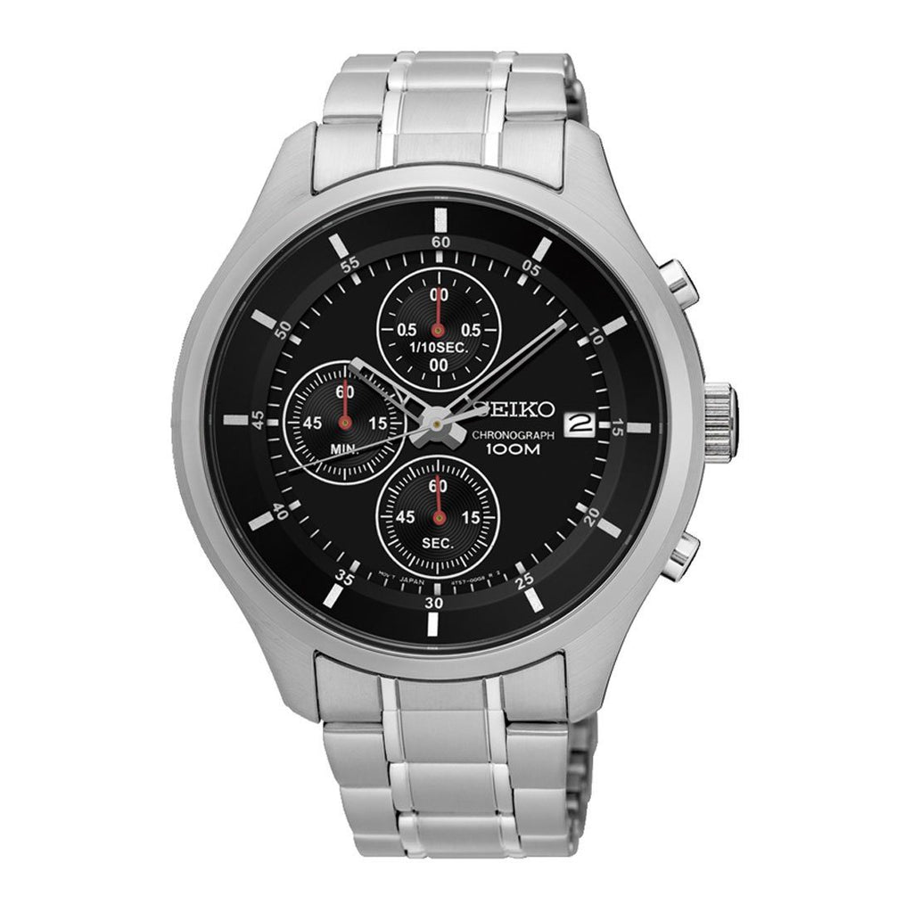 Seiko Men's Silver Stainless Steel Black Chronograph Watch SKS539P Watches Seiko