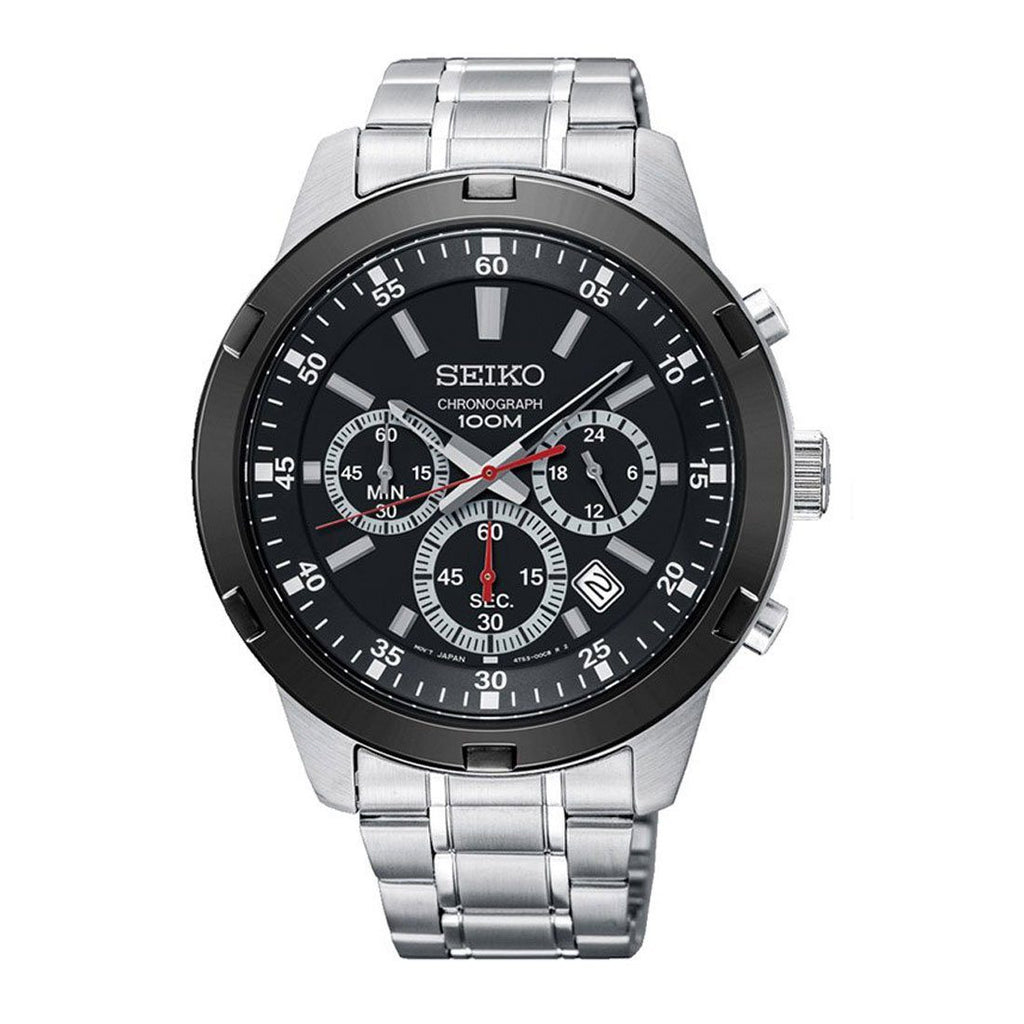 Seiko Men's Silver Stainless-Steel Black Face Chronograph Watch SKS611P Watches Seiko