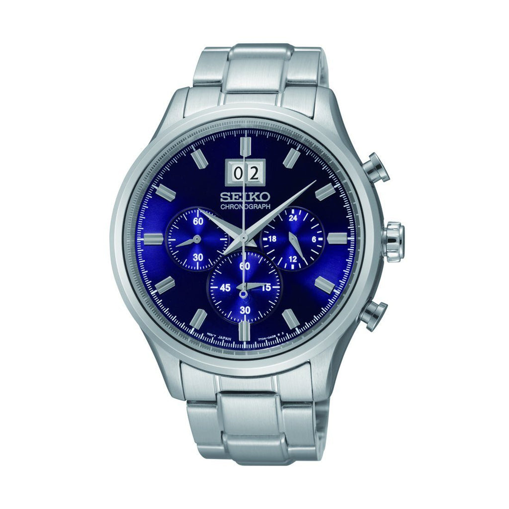 Seiko Gents Blue Chronograph Watch SPC081P