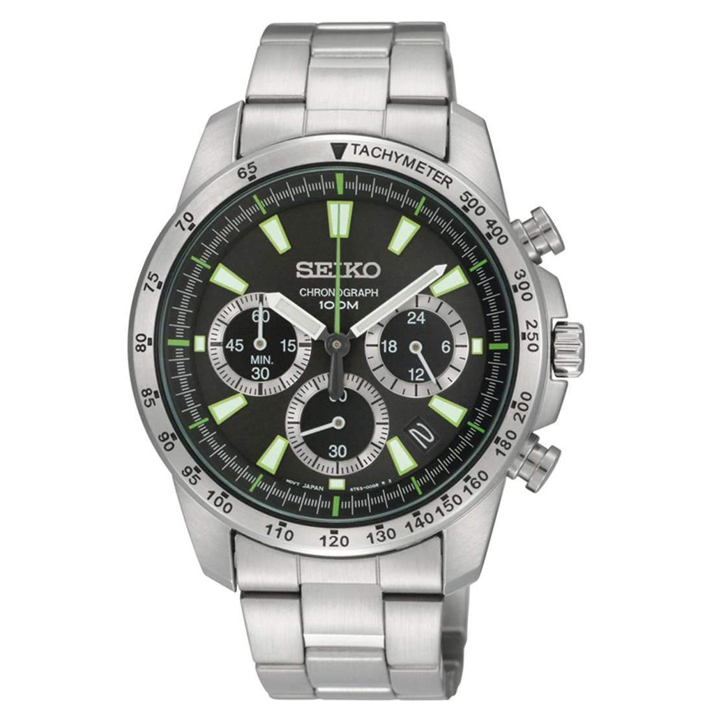 Seiko Chronograph Green and Black Dial,Silver Band Men's Watch Watches Seiko