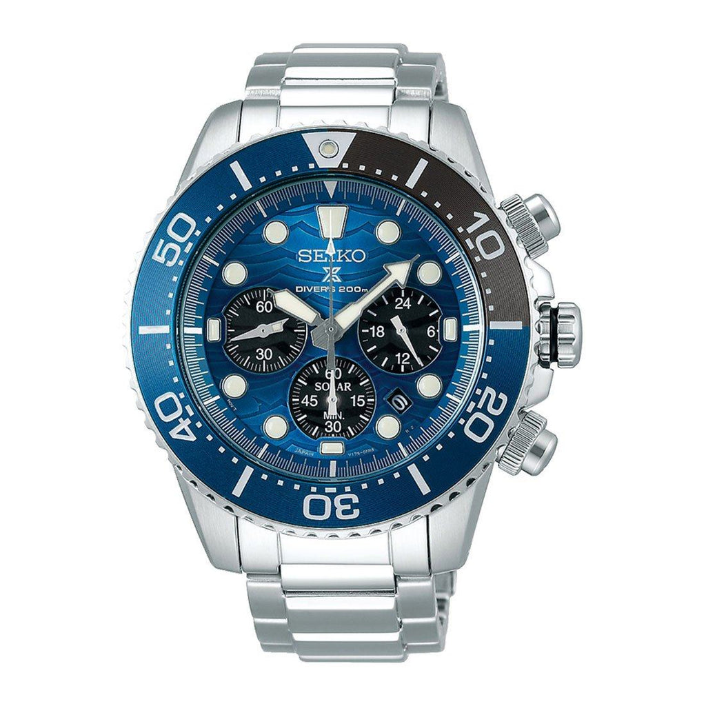 Seiko Men's Prospex Blue Face Save The Ocean Special Edition Watch SSC741P Watches Seiko