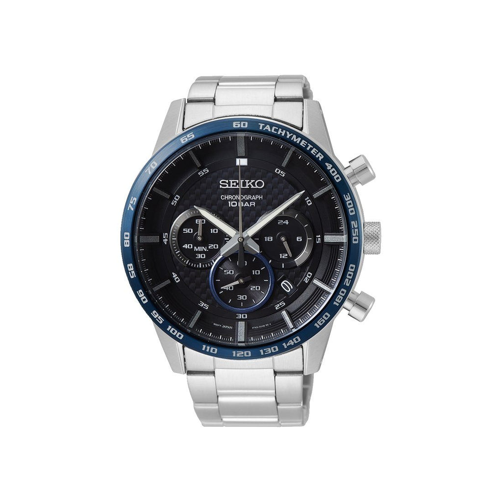 Seiko Chrono Solar Black Silver Watch SSB357P