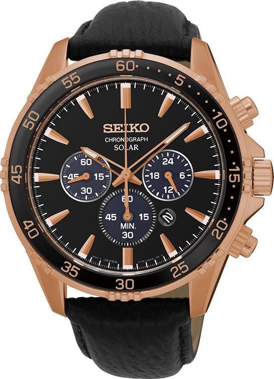 Seiko Gents Chrono Solar Rose Gold Watch Model SSC448P