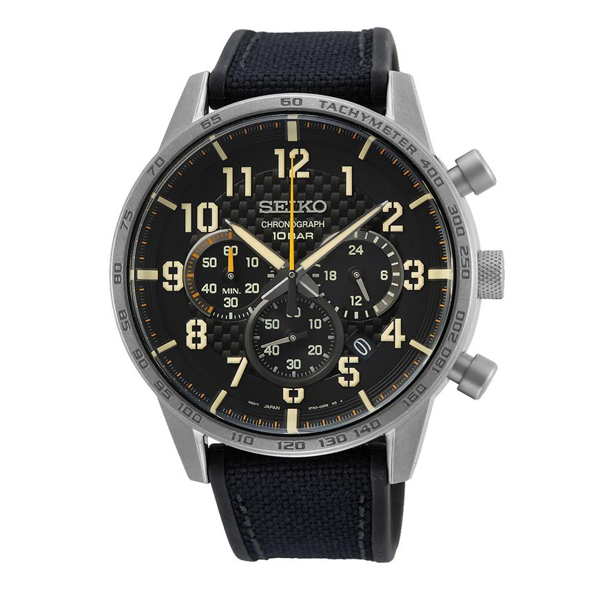 Seiko Chronograph Black & Silver Polyurethane Watch SSB367P1 Watches Seiko