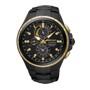 Seiko Men's Coutura Black and Gold Watch SSC573P