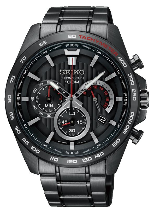 Seiko Mens Chronograph Black Watch SSB311P