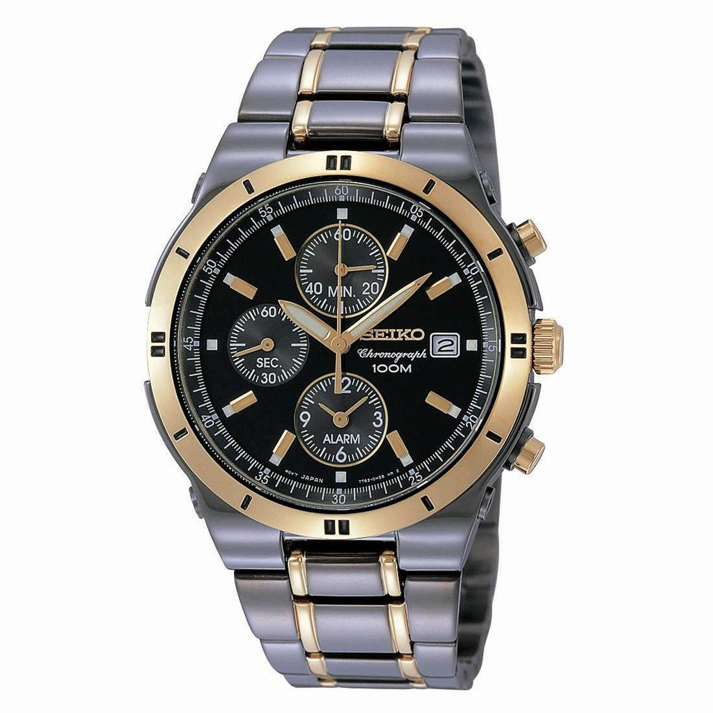 Seiko Mens Chronograph Black and Gold IP Watch SNAA30P9 Watches Seiko