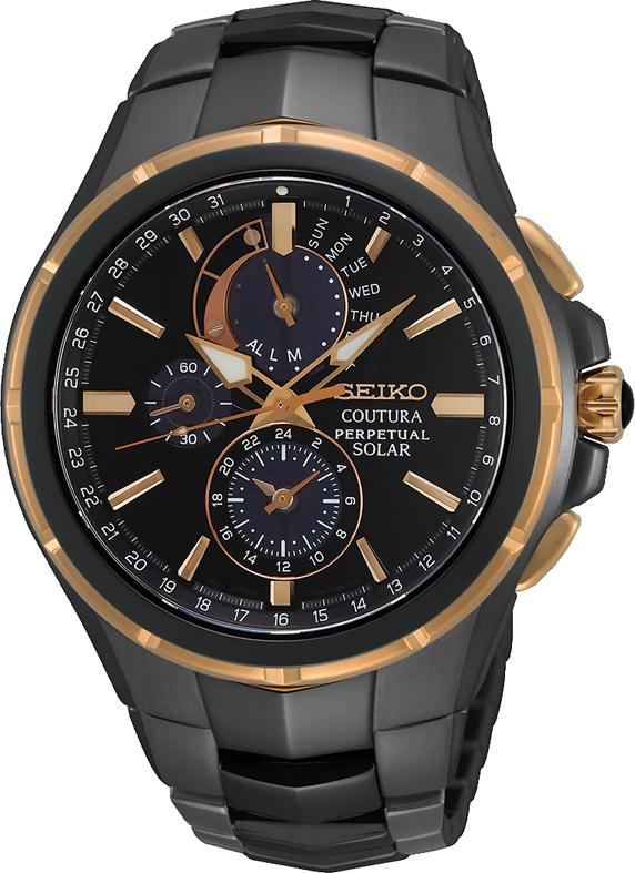 Seiko Gents Coutura Chrono Perpetual Solar Rose Watch Model SSC766P Watches Seiko