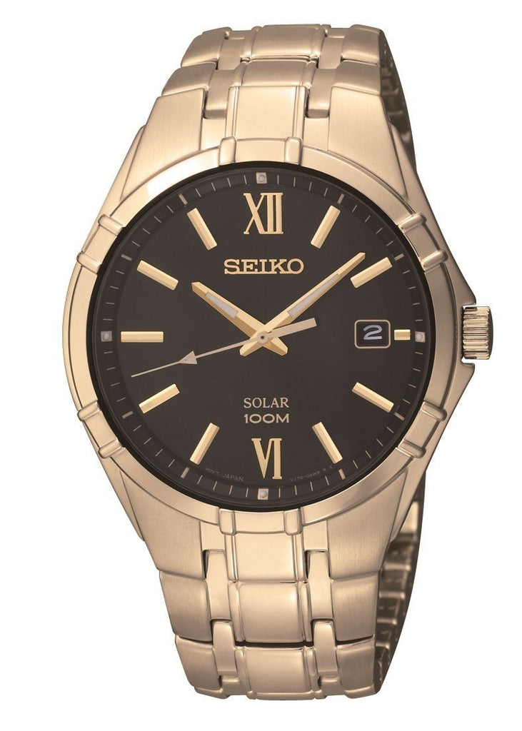 Seiko Men' Solar Gold Watch Watches Seiko