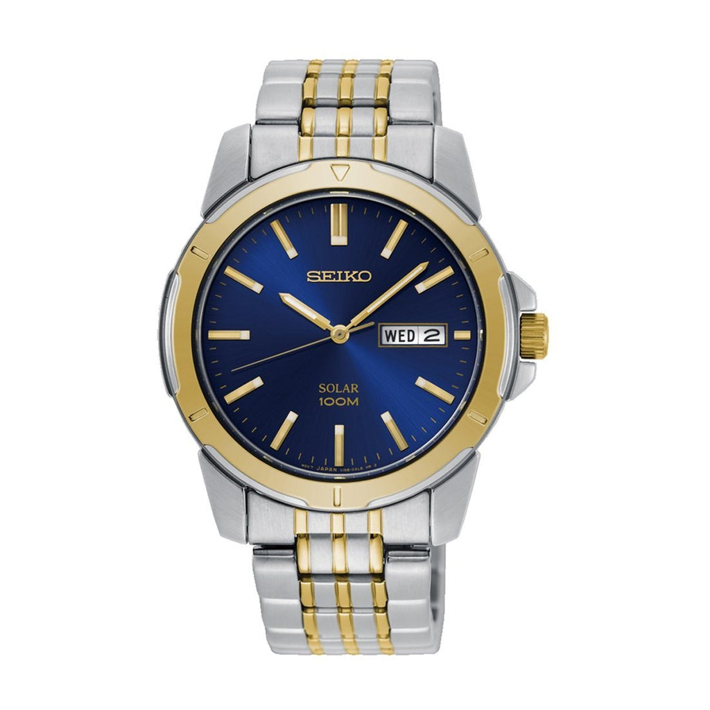 Seiko Mens Blue Face Solar Watch Model SNE502P1 Watches Seiko