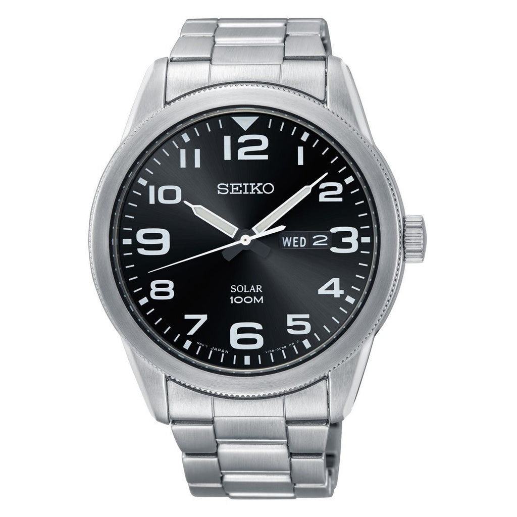 Seiko Men's Solar Silver Stainless Steel Black Dial Watch Watches Seiko