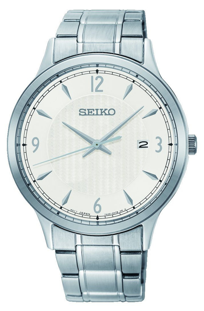 SEIKO GENTS DAYWEAR 100M WHITE FACE SILVER CASE BAND Watches Seiko