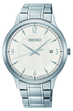 SEIKO GENTS DAYWEAR 100M WHITE FACE SILVER CASE BAND