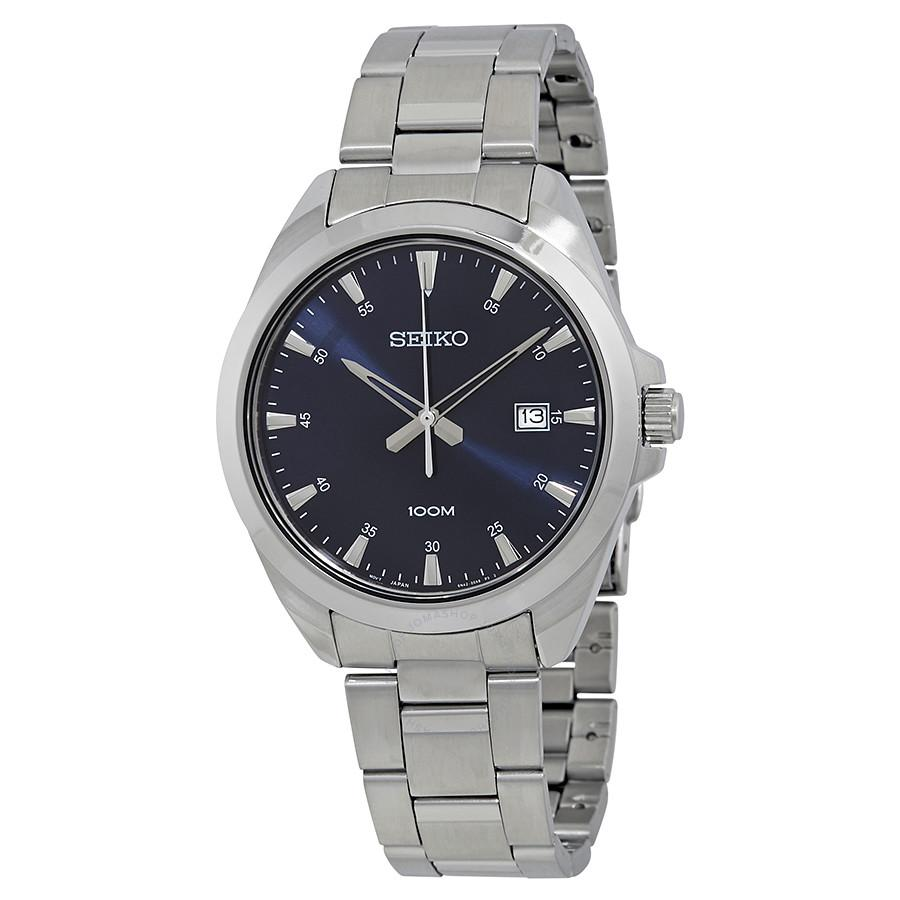 Seiko Mens Blue & Silver Watch SUR207P