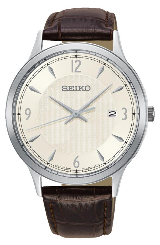 Seiko Mens Brown Leather Watch Model SGEH83P