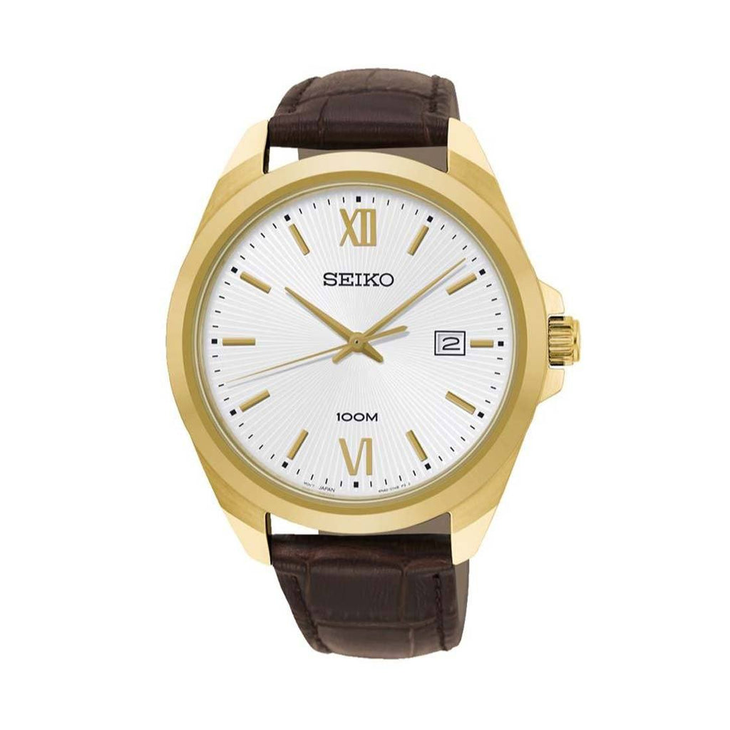 Seiko Men's Gold Case Brown Leather Watch Watches Seiko