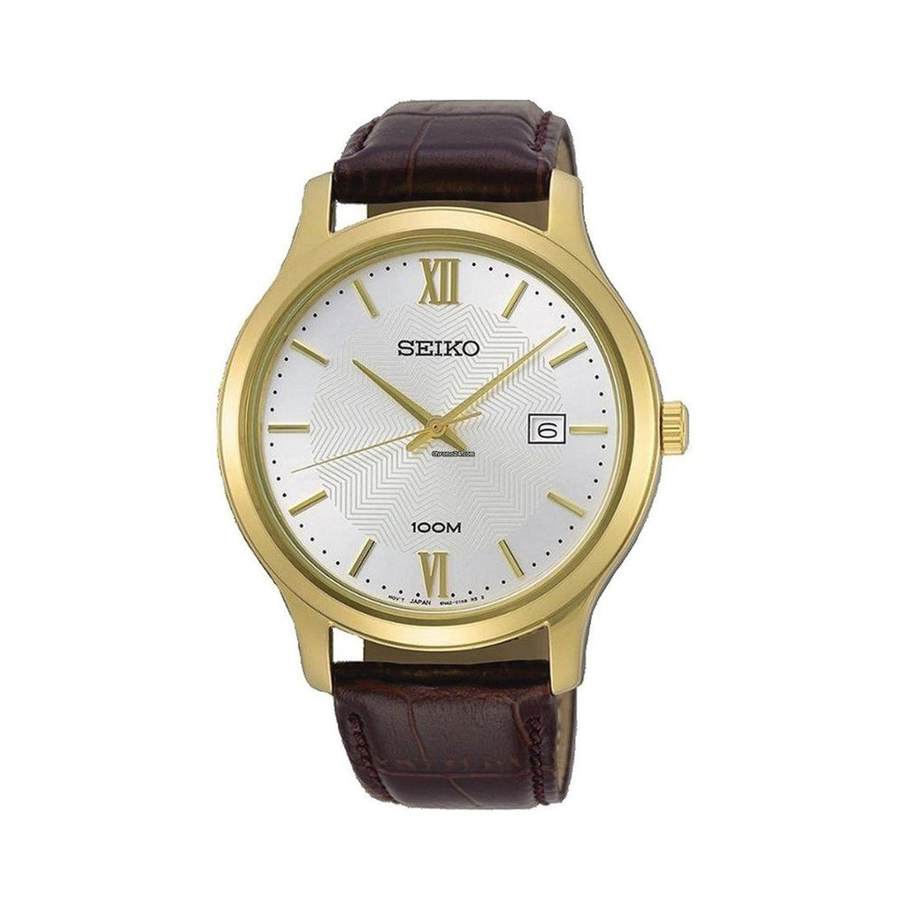 Seiko Men's Brown Leather Watch SUR298P1