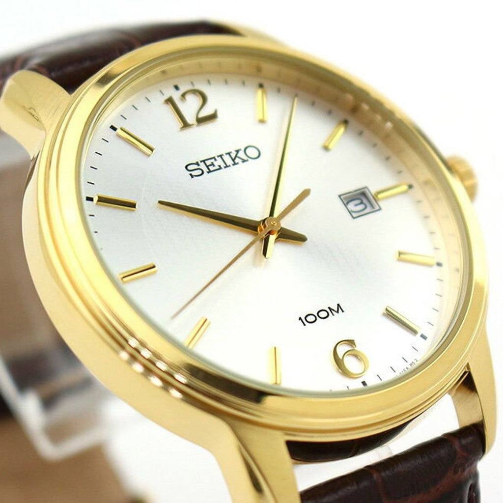 Seiko Men's Brown Leather Watch SUR266P