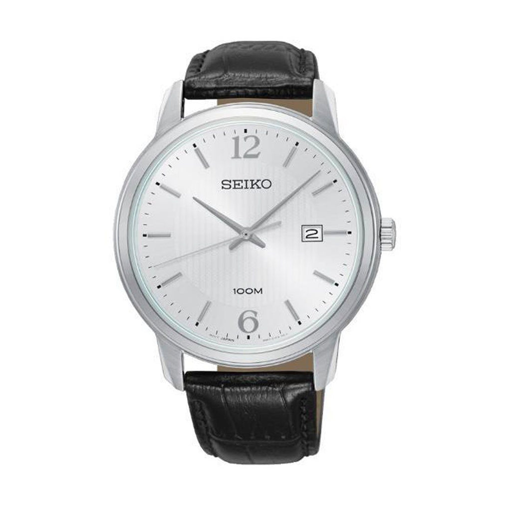Seiko Men's Black Leather Watch SUR265P