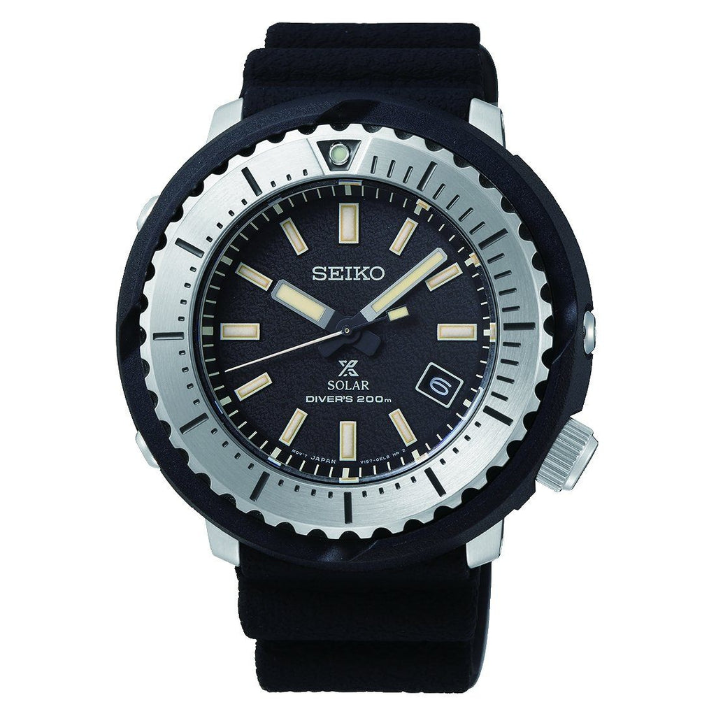 Seiko Mens Prospex Divers Black Silicone Watch SNE541P