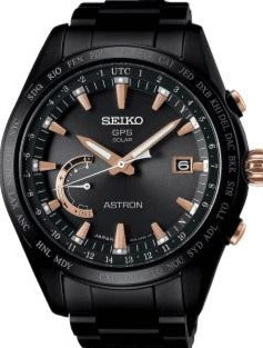 SEIKO ASTRON 8X22 GPS SOLAR BLACK HARD COATED TITANIUM ROSE GOLD CERAMIC 100M