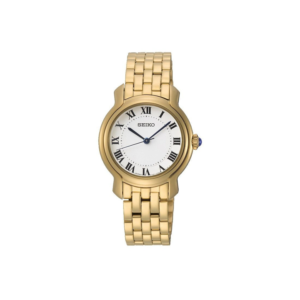 Seiko Ladies White Face Gold Tone Stainless-Steel Case Watch Model SRZ520P1