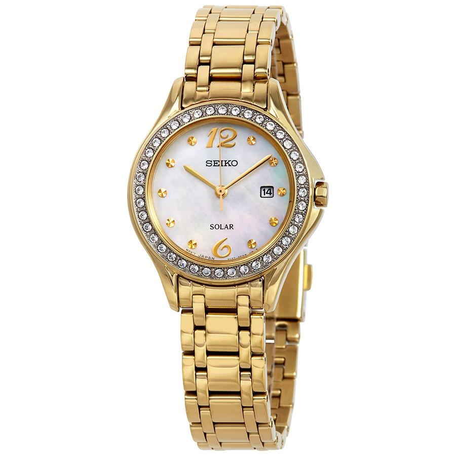 Seiko Mother of Pearl Stone Set Gold Watch SUT314
