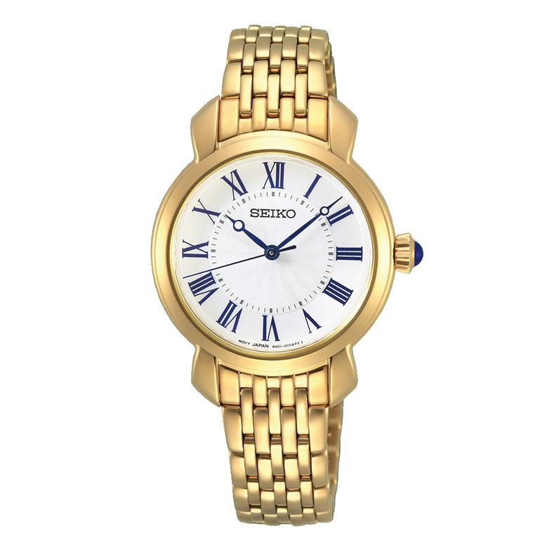 Seiko Ladies White and Gold Watch SUR626P