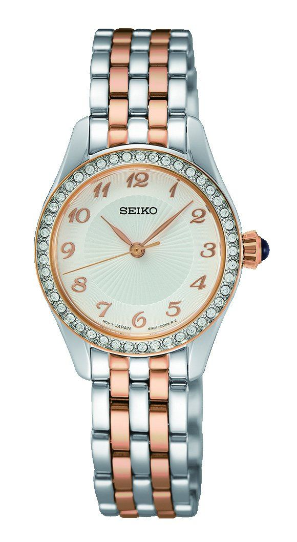 Seiko Caprice Two Tone Silver and Rose Gold Women's Watch SUR386P