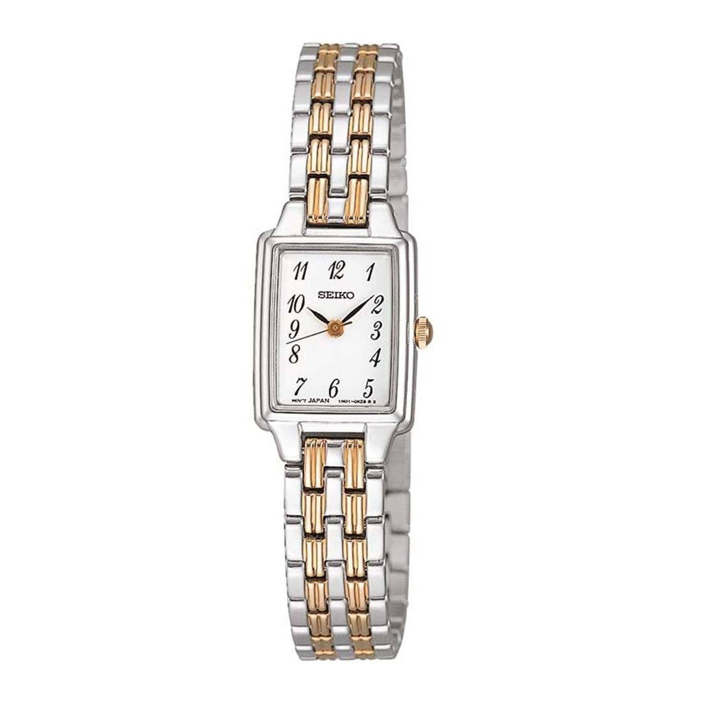 Seiko Ladies Rectangle Two Tone Watch Model SXGL61P-9