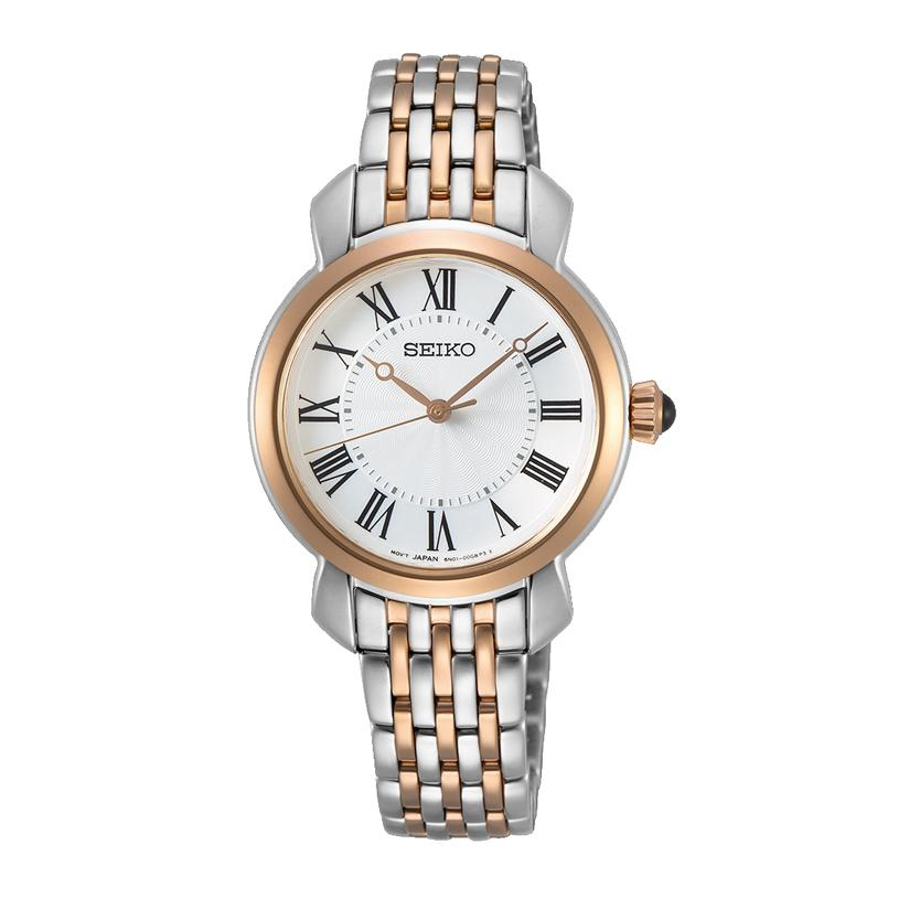 Seiko Ladies White and Two Tone Rose & Silver Watch SUR628P1