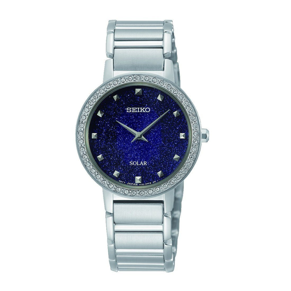 Seiko Gents Blue Solar Swarovski Crystal Watch SUP433P