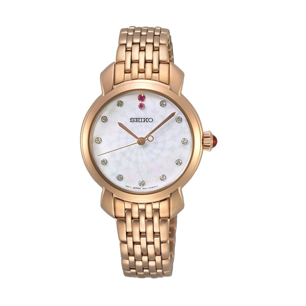 Seiko Special Edition Swarovski Mother of Pearl Rose Watch SUR624P1