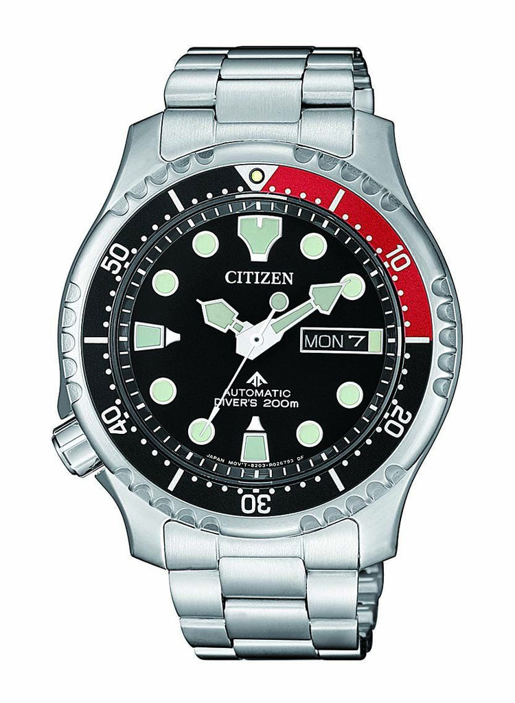 CITIZEN PROMASTER AUTOMATIC DIVERS 200M BLACK FACE SILVER BAND Watches Citizen