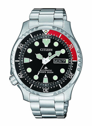 CITIZEN PROMASTER AUTOMATIC DIVERS 200M BLACK FACE SILVER BAND
