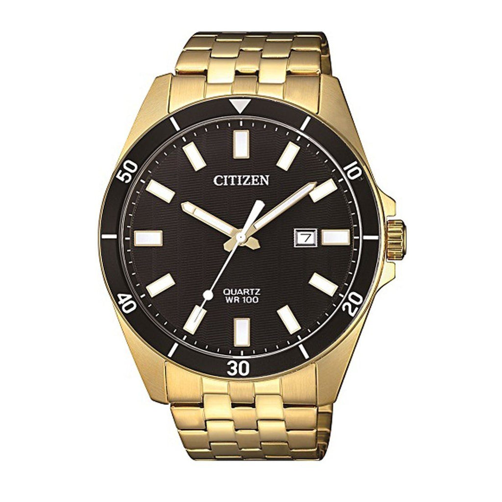 Citizen Men's Black Dial Gold Stainless-Steel Watch Model BI5052-59E