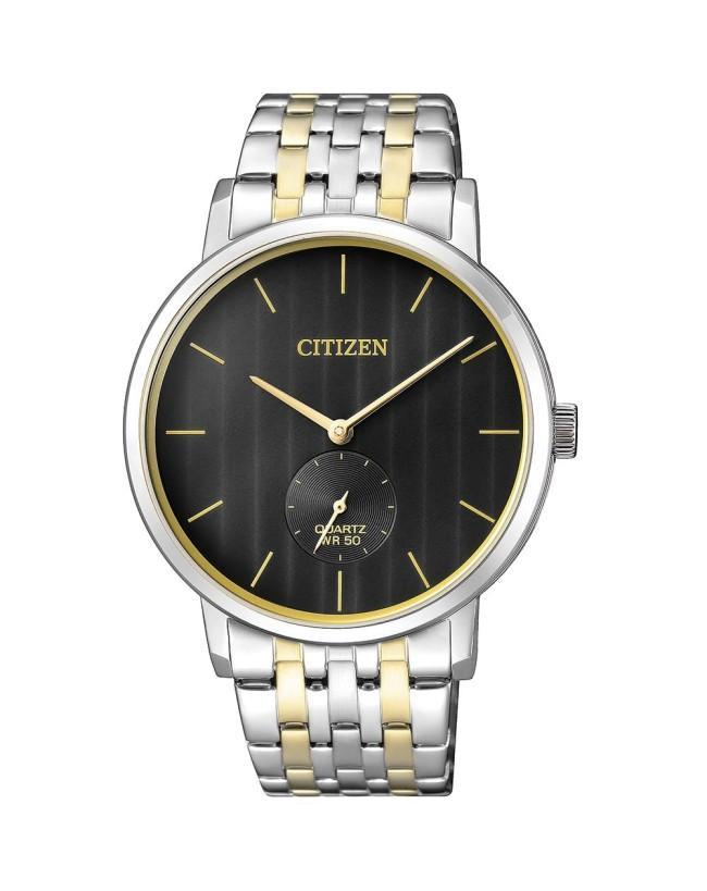 Citizen Quartz Black, Gold & Silver Mens Watch BE9174-55E
