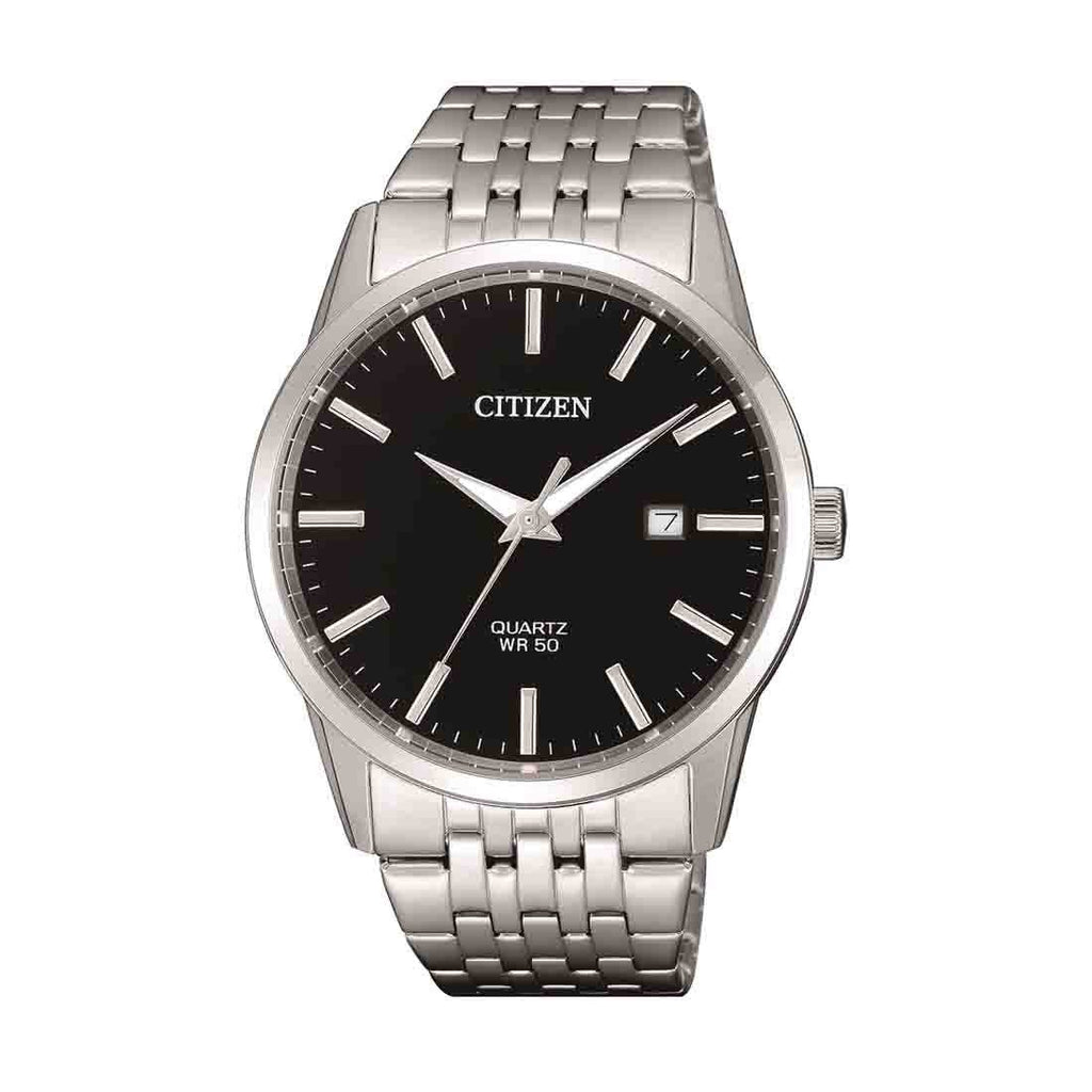 Citizen Men's Silver Stainless-Steel Black Face Watch Model BI5000-87E Watches Citizen