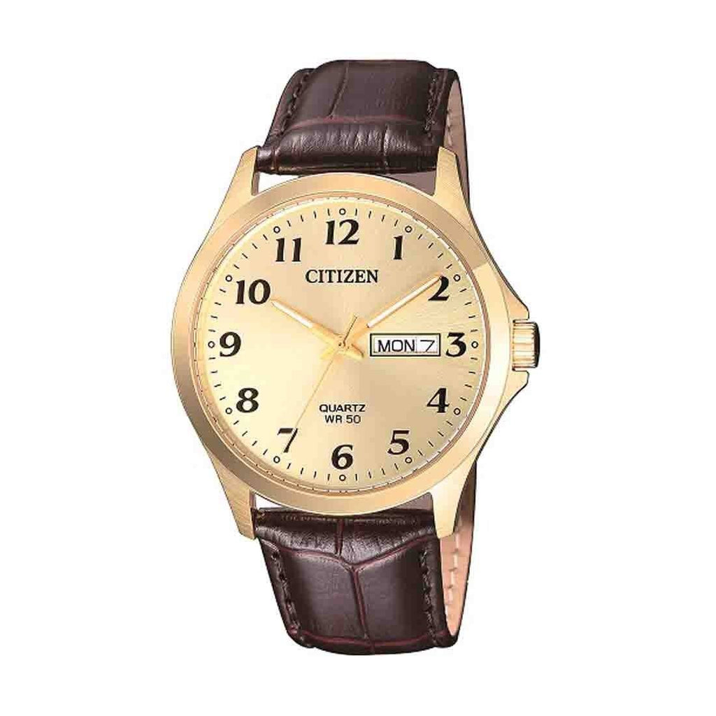 Citizen Men's Gold Stainless-Steel Brown Leather Watch Model BF5002-05P Watches Citizen