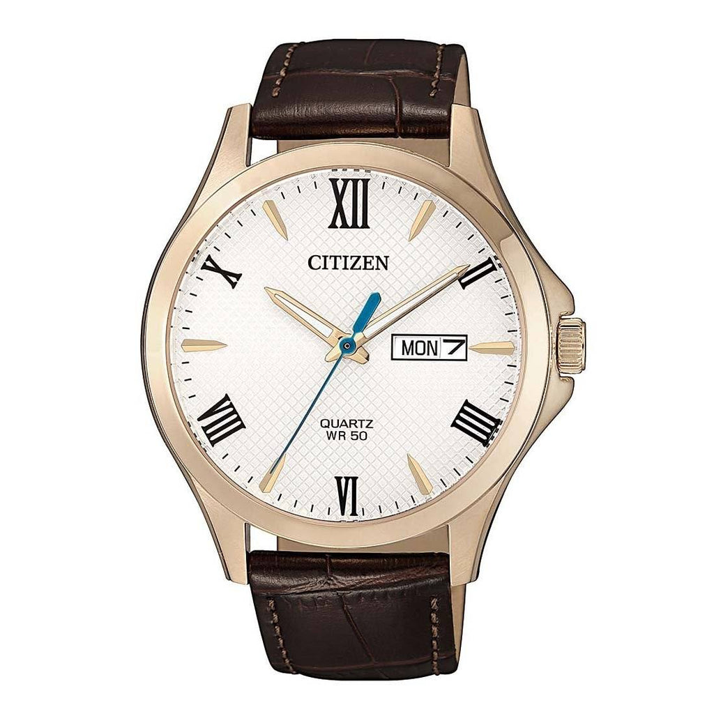 Citizen White Brown Leather Watch BF2023-01A Watches Citizen